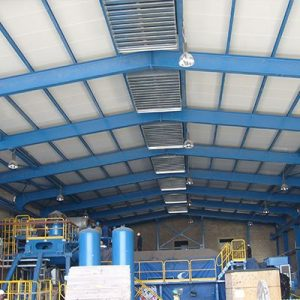 Engine Hall Steel Structure Interior View With Roofing Sheet Installed