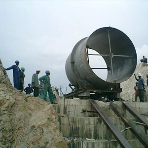 Lowering of Penstock Shell into Trench